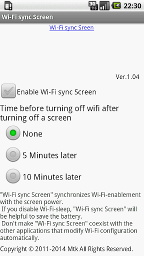 Wi-Fi sync Screen