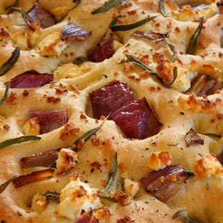 Focaccia with Feta, Red Onion, and Rosemary.