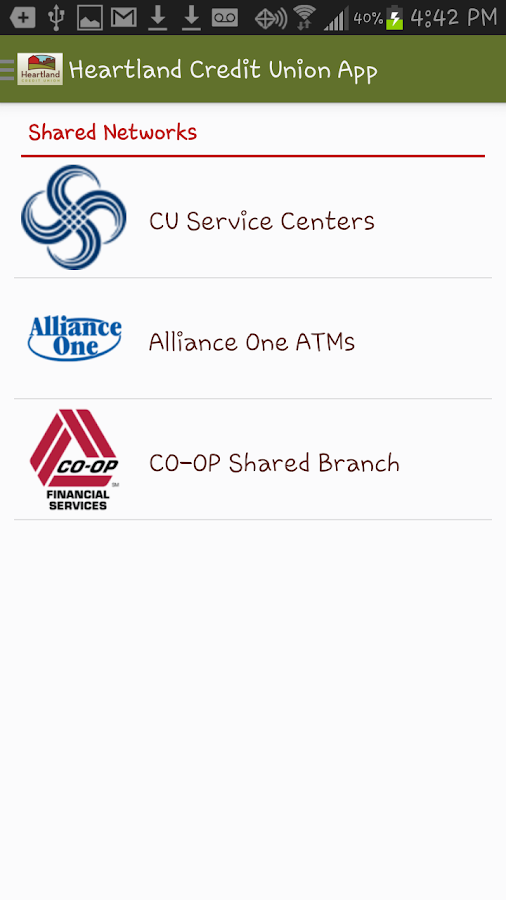 Heartland Credit Union App- screenshot
