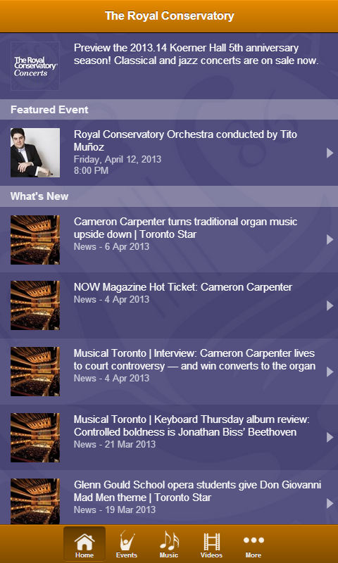 Royal Conservatory Concerts - screenshot