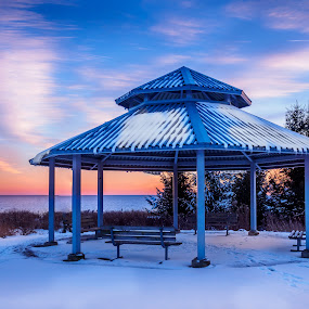 Let's watch the sun go down from here. by Donna Brittain - Landscapes Sunsets & Sunrises ( lake ontario, winter, shelter, canada, sunset, snow, whitby, glow, gazebo,  )