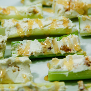 Goat Cheese & Walnut Stuffed Celery Sticks w/ Sweet Drizzle (gluten-free, contains dairy).