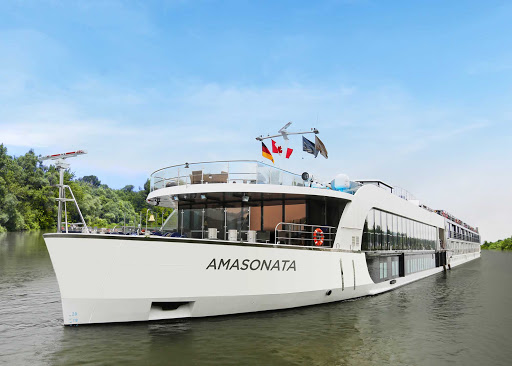 AmaSonata-exterior - The 164-passenger AmaSonata debuted in July 2014 and is running itineraries that include Budapest and Austria. The river ship offers a choice of dining venues and a heated pool with swim-up bar.