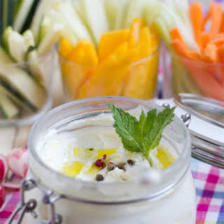 Labneh Cheese with Vegetables and Fruit.