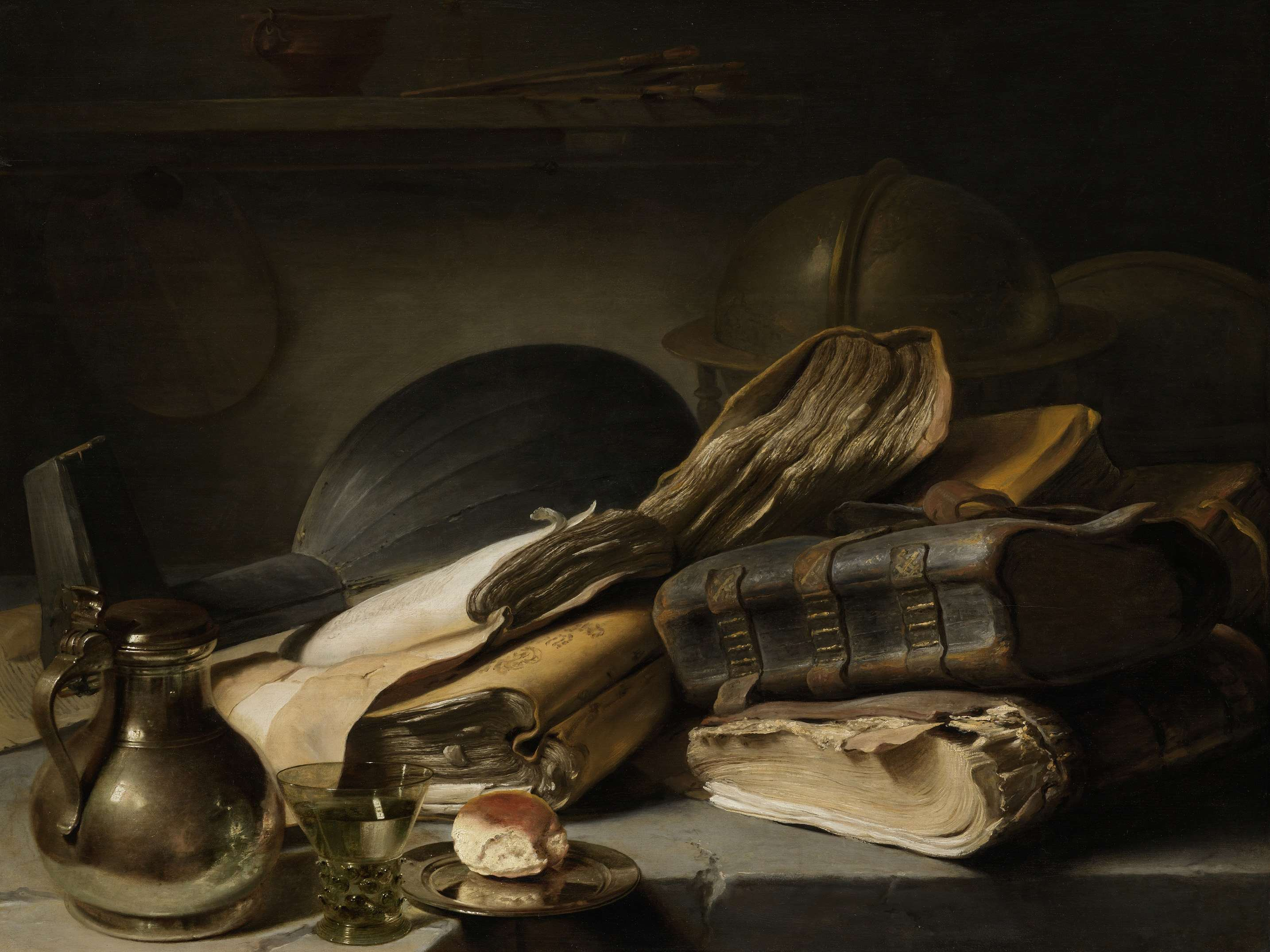 Jan Lievens, Still life with books, c. 1627-1628. Oil on panel. Rijksmuseum, Amsterdam.