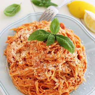 3-Ingredient Creamy Tomato Angel Hair Pasta.