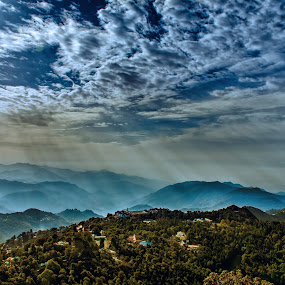 Rays of Hope by KP Singh - Landscapes Mountains & Hills ( clouds, hills, sunrise, nainital, rays )