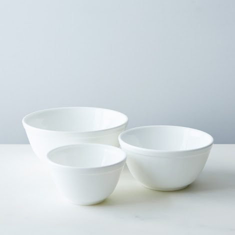 3-Piece White Glass Mixing Bowl Set