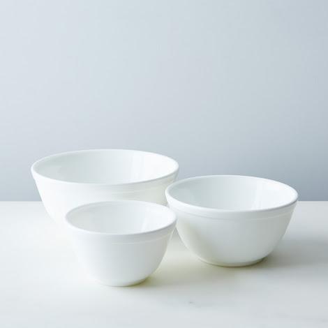 3-Piece White Glass Mixing Bowl Set
