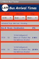 Screenshot of LA Metro Bus Tracker