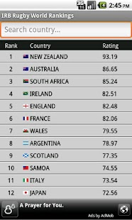 IRB Rugby World Rankings - screenshot thumbnail