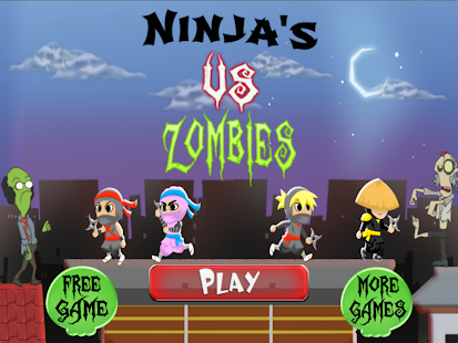 Ninja Rooftop Zombie Run Free