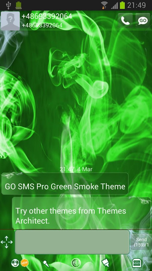GO SMS Pro Green Smoke Theme - screenshot