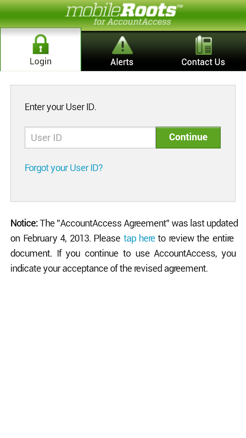 mobileRoots for AccountAccess- screenshot