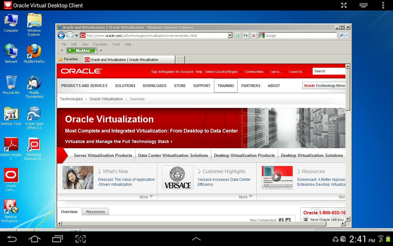 Oracle Virtual Desktop Client- screenshot