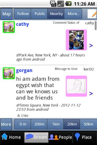 NearbyFeed Friend, Place- screenshot