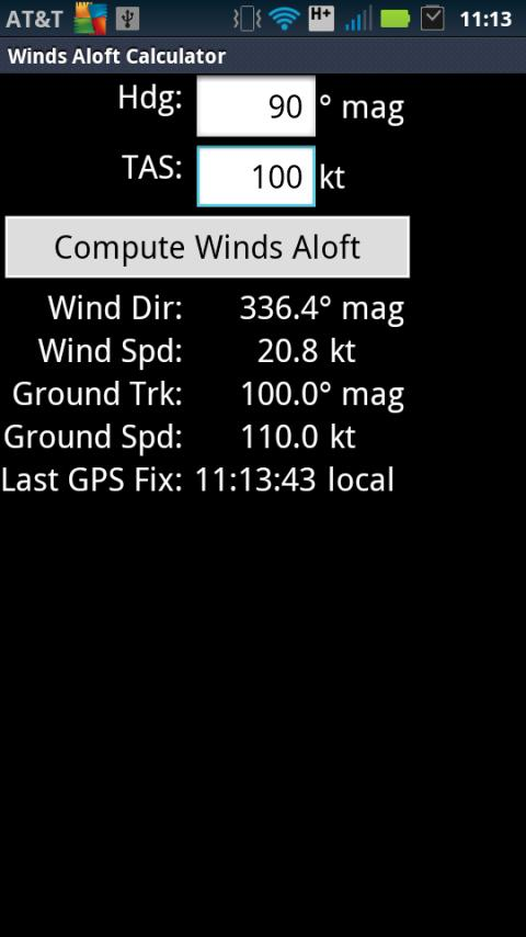 Winds Aloft Calculator - screenshot