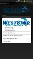 Screenshot of WestStar CU Mobile Banking