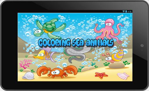孩子着色海洋动物