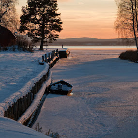 Orsa harbour by Claes Wåhlin - Landscapes Waterscapes ( sweden, winter, ice, lake, orsa, dalarna,  )