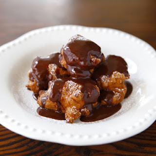 Hanukkah Fritters with Warm Chocolate Sauce