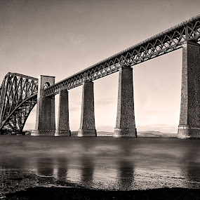 by Andrew Percival - Buildings & Architecture Bridges & Suspended Structures ( contrast, old, waterscape, black and white, rail, clouds and sea, long exposure, bridge, landscape,  )