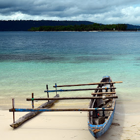 cloudy and boat by Bastian M - Transportation Boats ( manokwari, traditional boat, pulau lemon, mansinam, papua )