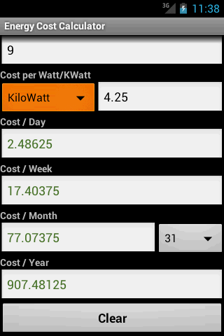 Energy Cost Calculator - screenshot