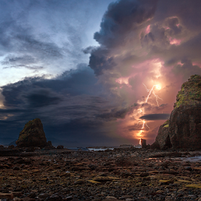 Morning Thunder by Rio Tanusudiro - Landscapes Weather ( thunder, coral, lightning, dawn, rock, beach, storm, morning, , Earth, Light, Landscapes, Views )