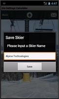 Screenshot of Ski Din Settings Calculator