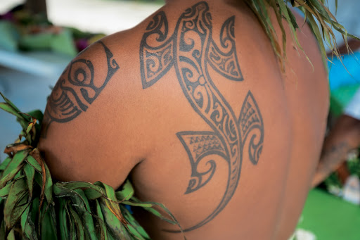 Tattoo_Moorea - Body art: A tattoo on a native of Moorea, part of the Paul Gauguin experience.
