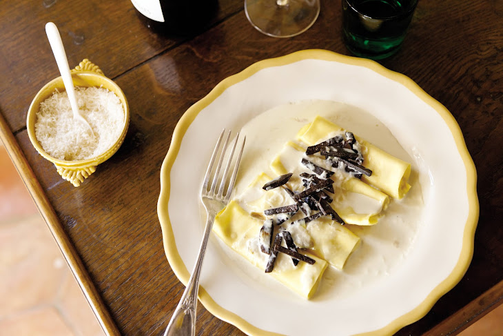 Goat Cheese Cannelloni with Morels and Truffles Recipe