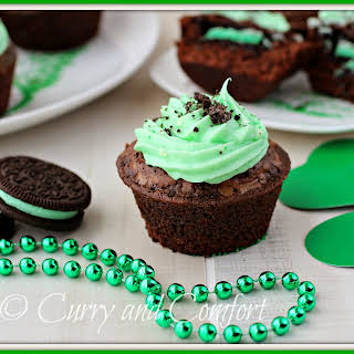 Brownie Oreo Mint Cupcakes.
