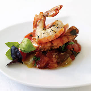 Grilled Shrimp with Cherokee and Oxheart Tomato Tartare.