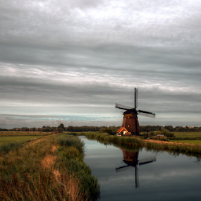 Windmill by Mike Bing - Buildings & Architecture Public & Historical ( water, clouds, sky, holland, egmond, windmill )