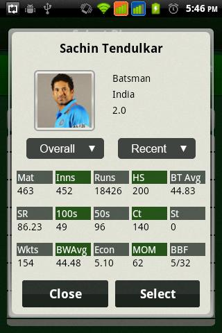 Cricket Selector - screenshot