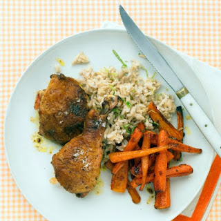 Curried Chicken Legs with Carrots, Rice, and Lime.