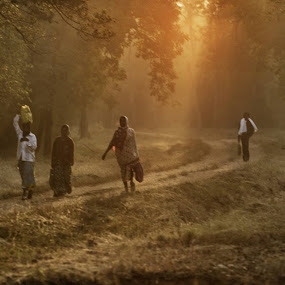 Another beautiful morning and misty feel due to lens flare. workers for the forest fire line. by Marzook Mohd - People Street & Candids