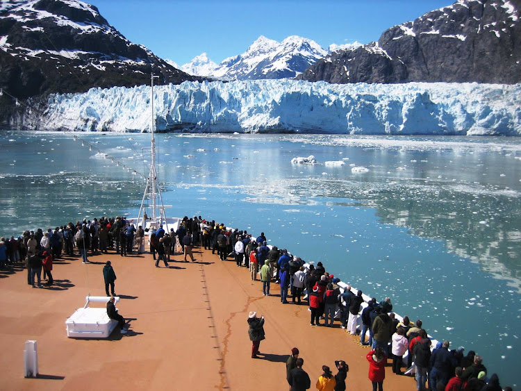 Passengers on a cruise ship in Glacier Bay National Park, Alaska.