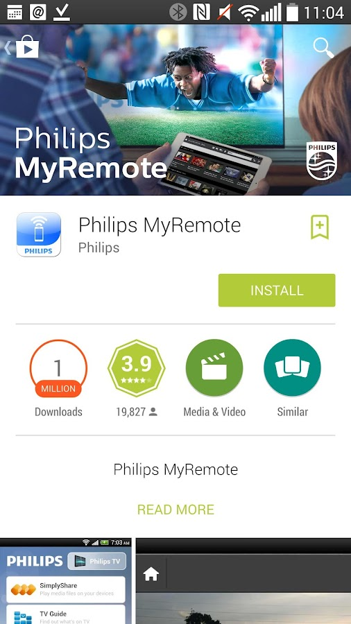 Philips MyRemote– captură de ecran