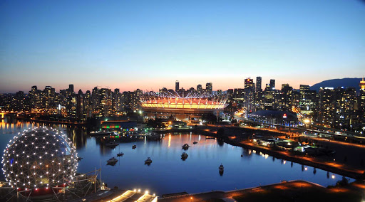 view-bc-place-Vancouver-British-Columbia - The skyline of Vancouver, British Columbia, at dusk