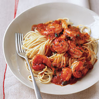 Pasta with Spicy Shrimp and Tomato Sauce.