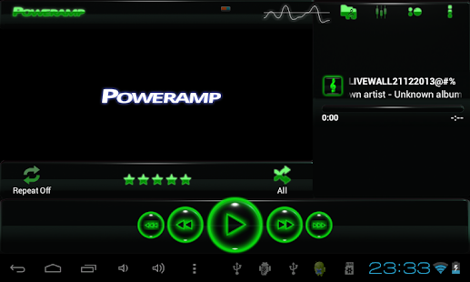 poweramp skin glow green Screenshot