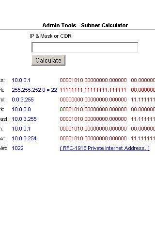 Admin Tools- Subnet Calculator - screenshot