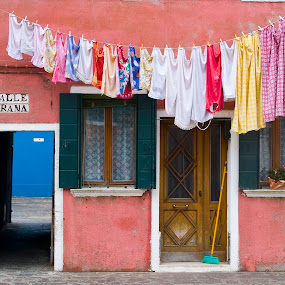 Pink house in Burano with laundry. by Gale Perry - Buildings & Architecture Architectural Detail (  )