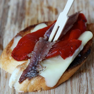 Anchovy, Red Pepper, and Manchego Pintxos