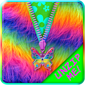 Rainbow Fur Zipper Lock Screen