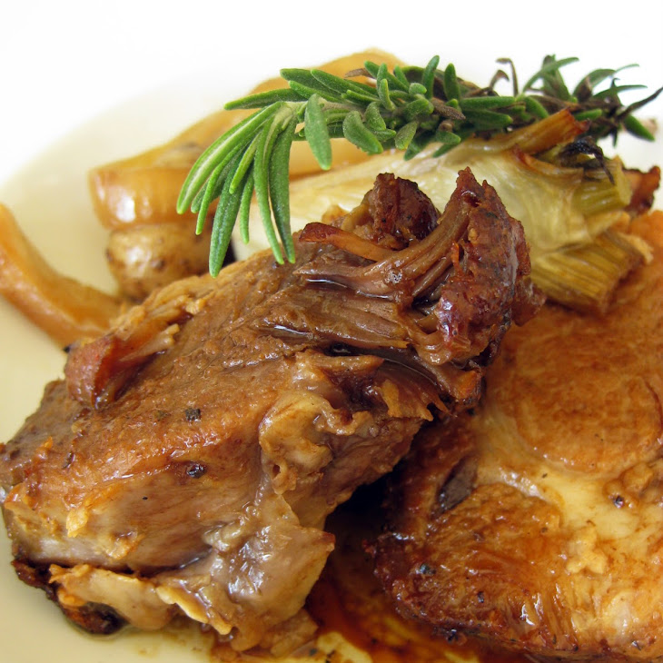 Slow-Roasted Pork Shoulder with Fennel, Onions, Teeny Tiny Potatoes and Garlic Recipe