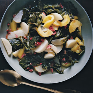 Braised Turnip Greens with Turnips and Apples.
