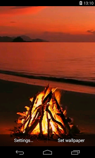 Bonfire on the beach Video LWP